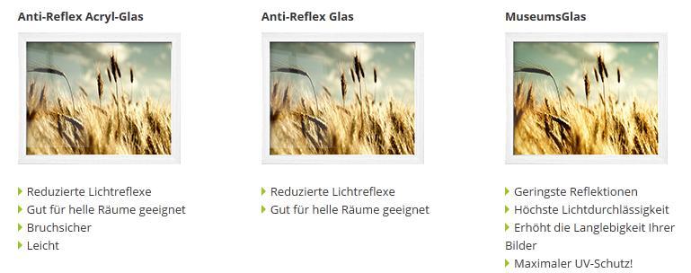 Glas für Rahmen
